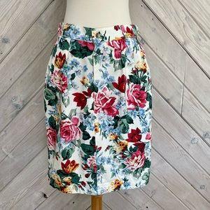 Vintage Floral Print Denim Skirt
